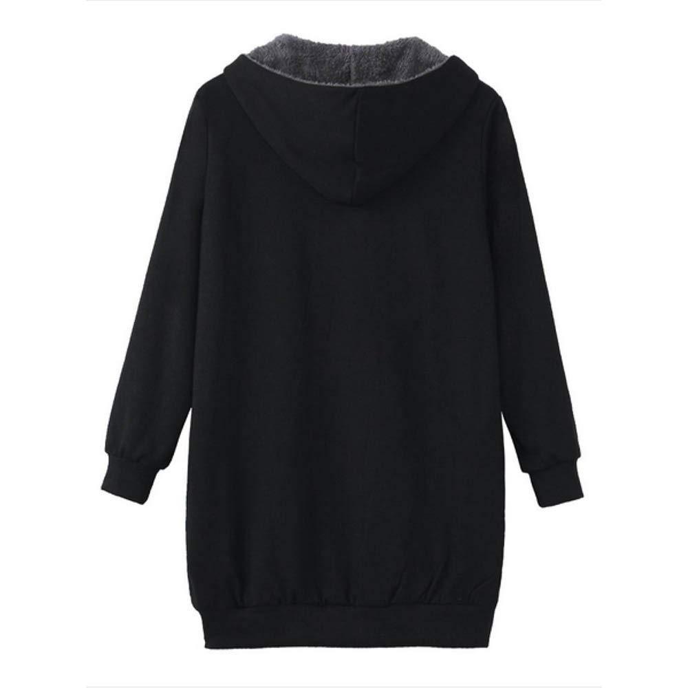 FNKDOR Manteau à Capuche Femme Hiver Grande Taille Manches Longues Veste Blouson avec Poches Doublure Polaire Épais Chaud Gris