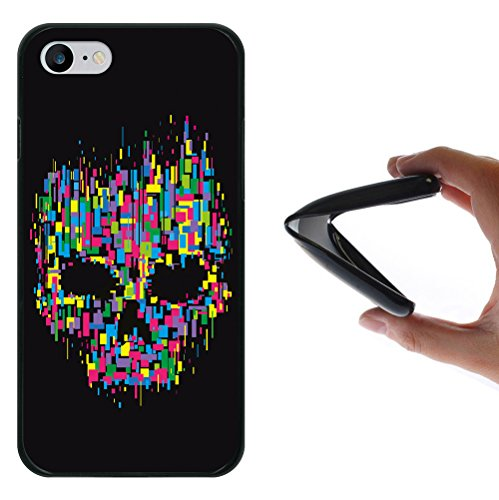 iPhone 7 Hülle, WoowCase Handyhülle Silikon für [ iPhone 7 ] Bunter Schädel Handytasche Handy Cover Case Schutzhülle Flexible TPU - Schwarz
