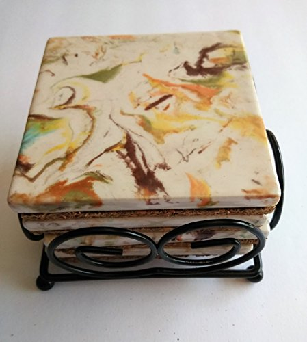 Hand painted brown tones marbleized coaster with holder (Ceramic Marbleized)