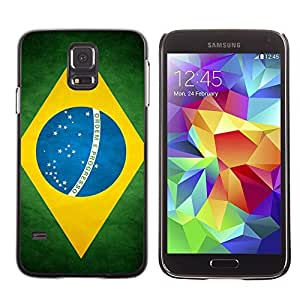 Cute Painting Slim pc Cover - Samsung Galaxy S5 ( Brazil Grunge Flag )