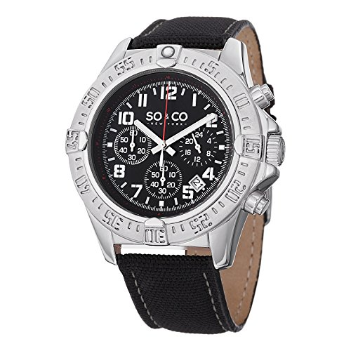 (SO&CO New YorkMen's 5016.1 Yacht Timer Quartz Chronograph Black Dial on Black Canvas Watch)