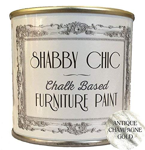 Shabby Chic Chalk Based Furniture Paint - Antique Champagne 250ml - Chalked, Use on Wood, Stone, Brick, Metal, Plaster or Plastic, No Primer Needed, Made in the UK.