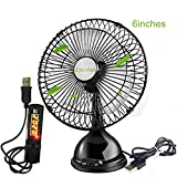 Lucstar Classic Personal Office Fan 6 Inch Table Desk Fan with USB Switch Timer, Quiet Powerful Wind, Working Time Controller for Bedroom Night Sleep, Office Decor, PC Cooler, Classic Black