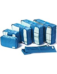 Packing Cubes Travel Organizers with Laundry Bag 7 Set Hanging Toiletry Bag Portable