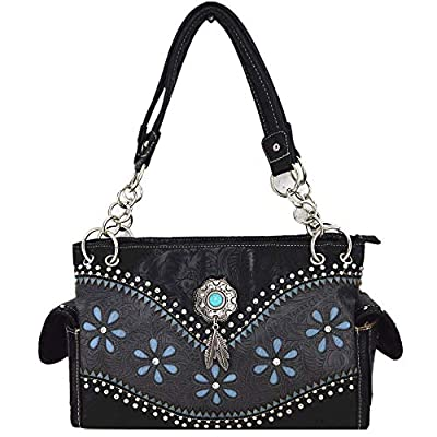 Tooled Leather Laser Cut Concealed Carry Purses Feather Country Western Handbags Shoulder Bag Wallet Set