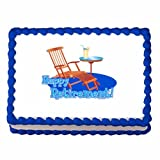 1/4 Sheet ~ Happy Retirement Beach Chair ~ Edible Image Cake/Cupcake Topper!!!