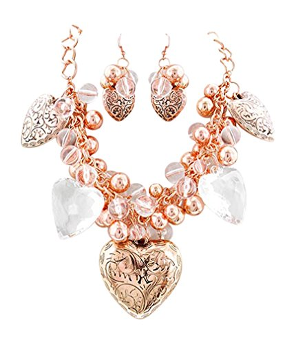 (Chunky Clear ICY and Rose-Goldtone Puffed Heart Beads Pendant Necklace and Earrings, 17+3