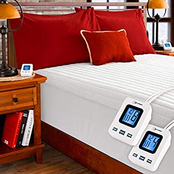 SimplyWarm Electric Heated Channel Quilted Mattress Pad with Sensor-Safe Overheat Technology - New for 2018 HIGH TEC Digital Controller (King w/Dual Controllers)