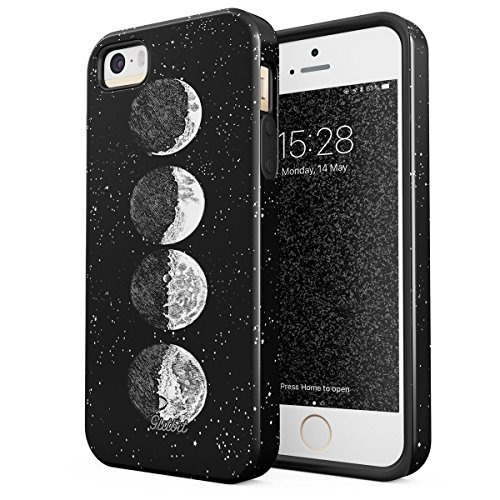 Glitbit Compatible with iPhone 5 iPhone 5s iPhone SE Case Moon Phases Eclipse Stars Cosmos Galaxy Universe Cosmic Lunar Luna Tumblr Shockproof Dual Layer Hard Shell + Silicone Protective Cover (Eclipse Bumper Case For Apple Iphone 5 5s)