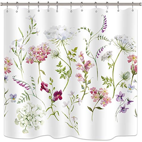 Riyidecor Herbs Floral Plants Shower Curtain Watercolor Wildflowers Delicate Flower Pink Tansy Pansies Retro White Decor Fabric Bathroom Set Polyester Waterproof 72x72 inch Free Plastic Hooks -