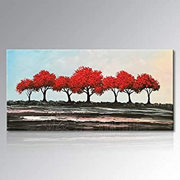 BH Inicio un Pinturas al óleo pintadas a mano puras Árbol rico ...