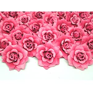 "(100) Silk Fuchsia Roses Flower Head - 1.75"" - Artificial Flowers Heads Fabric Floral Supplies Wholesale Lot for Wedding Flowers Accessories Make Bridal Hair Clips Headbands Dress 1"