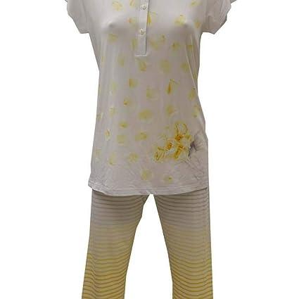 Pijama de verano de mujer con cuello Serafino de viscosa amarillo 42