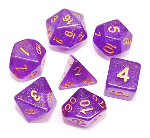 DND Polyhedral Dice Set RPG Dice Compatible Dungeons and Dragons,Pathfinder,D&D,MTG,Table Game,Role Playing Dice Purple Transparent Dice with Color Changing Glitter