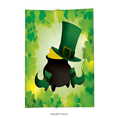 Female Loki Costume Party City (Custom printed Throw Blanket with St. Patricks Day Decor Leprechaun Hat and Shoes Costume with Pot of Gold with Shamrock Leaves Forest Green Super soft and Cozy Fleece Blanket)
