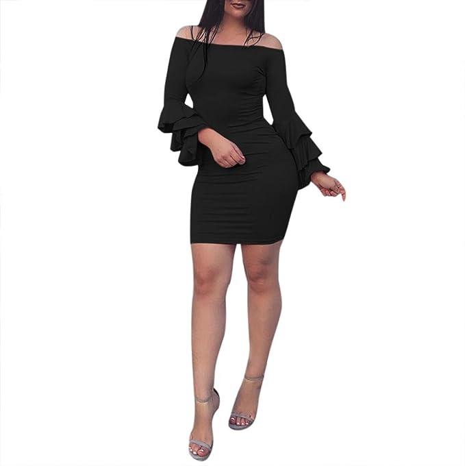 Longra Damen Sexy Kleider Elegant Etuikleid Bodycon Tunikakleid Pencil  Kleider Festliches Kleid Knielang Damen Schulter Abendkleid Cocktailkleid  Minikleid  ... de483b6fbb