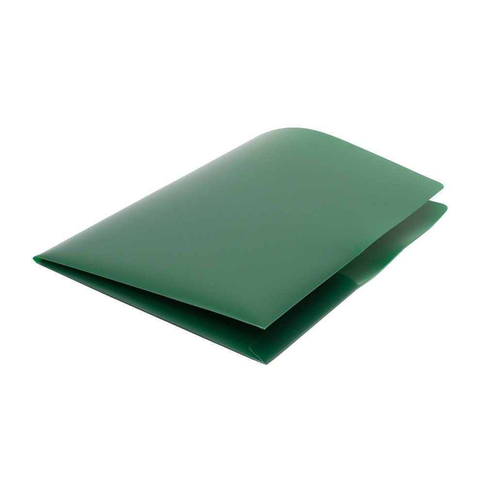 Four Point PP1350 - 120 Durable Heavy Duty Poly 8.5'' x11''  Pocket Folders, Forest Green Color, 2 Pockets, Business Card slots, Superior Strength, Made in USA
