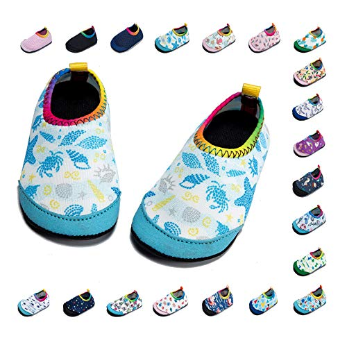 (Panda Software Baby Boys Girls Water Shoes Infant Barefoot Quick -Dry Anti- Slip Aqua Sock for Beach Swim Pool Shell/6-12 Months M US)