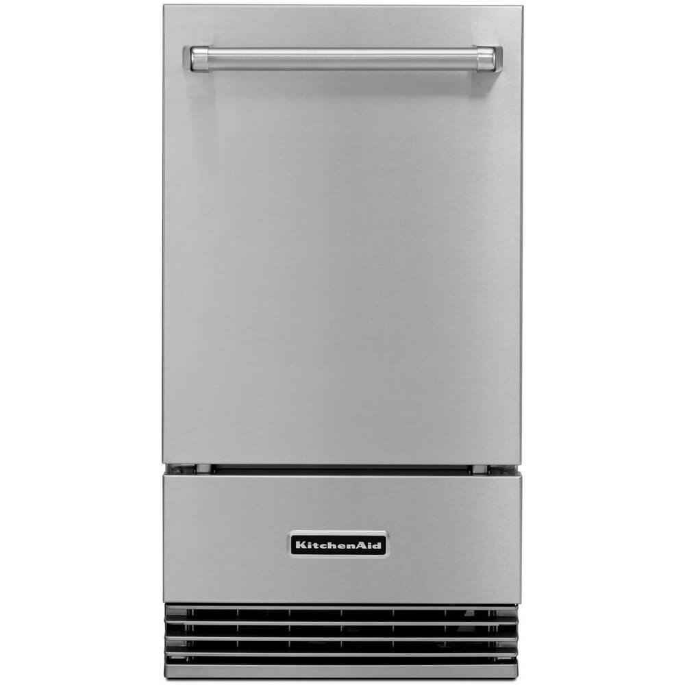 """KITCHENAID KUIO18NNZS 18"""" Wide Ice Maker with Drop-Down Door, Up to 50-Lb. Production Rate per 24 Hours, Clear Ice Technology and Integrated Filter in Stainless Steel"""