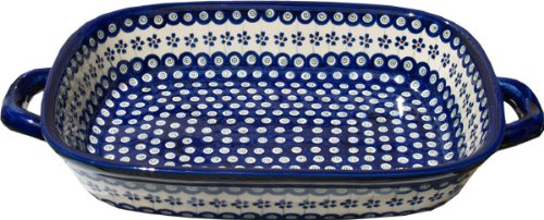 Polish Pottery Baking Dish with Handles From Zaklady Ceramiczne Boleslawiec #1345-166a Floral Peacock Classic Pattern, Depth: 2.5'' Width: 11'' Length: 14.5'' (18'' with Handles) by Polish Pottery Market