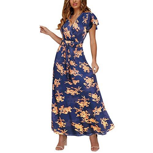 HOOYON Women's Short Sleeve Floral Printed Wrap V-Neck Party Bohemian Beach Maxi Dress Dark Blue - Printed Wrap