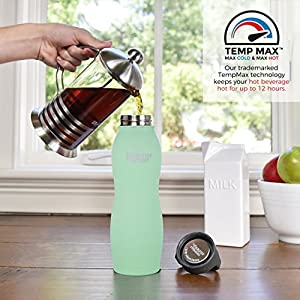 Healthy Human Curve Stainless Steel Insulated Travel Sports Water Bottle Thermos - BPA Free Cap with Hydro Guide & Carabiner Set - Seamist - 21 oz