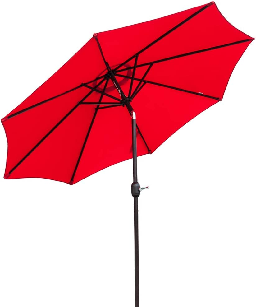 Bonnlo 9 ft Heavier Pole Thicker Fabric with Easy Push Button Tilt Outdoor Patio Umbrella Aluminum Backyard Market Table Tilt and Crank Umbrella Red