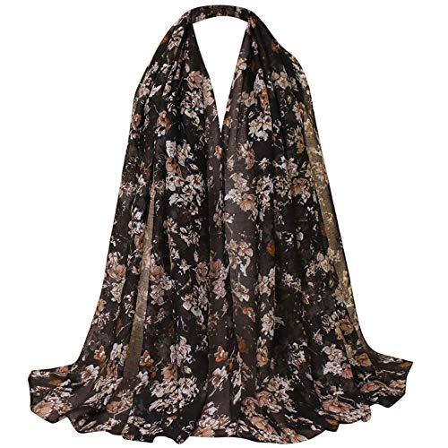 Silk Print Scarf,G-real Women Floral Vintage Ethnic Windshield Muslim Hijab