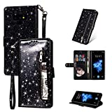 ZCDAYE Galaxy S7 Edge Wallet Case,Bling Glitter Sparkly Zipper PU Leather Magnetic Flip Folio Card Pockets Holder with Wrist Strap Stand Protective Case Cover for Samsung Galaxy S7 Edge - Black