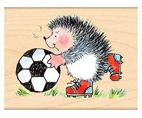 Hedgehog Football Player - Rubber Stamp On Wood (1ks), Penny Black, Inc, Rubber, Stamps, Scrapbooking Paper