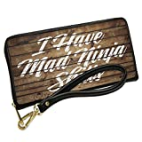 Wallet Clutch Painted Wood I Have Mad Ninja Skills with Removable Wristlet Strap Neonblond