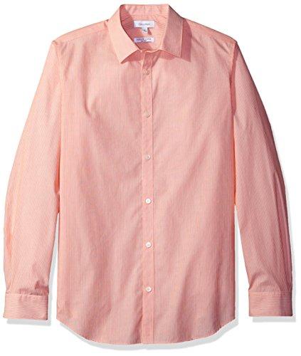 Stripe Marigold - Calvin Klein Men's Stripe Long Sleeve Non-Iron Button Down Shirt, Orange Marigold, SMALL