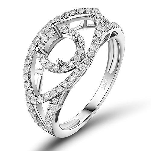 Lanmi Antique 14K White Gold Round Diamond Semi Mount Ring Sets for Womem - Antique Round Mount Diamond Semi