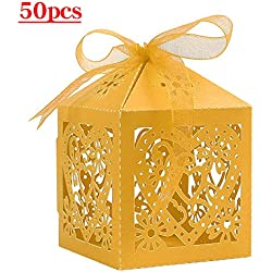 Lucky Monet 25/50/100PCS Love Heart Laser Cut Wedding Candy Gift Box Chocolate Box for Wedding Favor Birthday Party Bridal Shower with Ribbon (50pcs, Yellow)