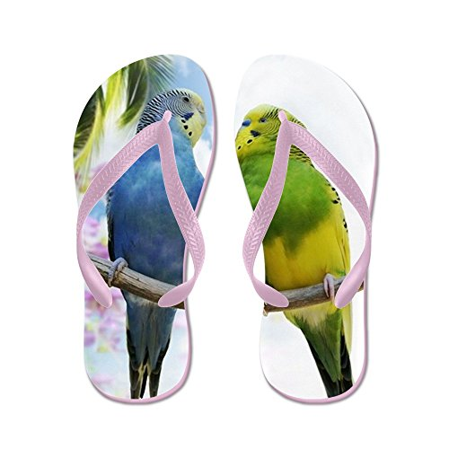 CafePress Two BUDGERIGARS Perching On A Branch - Flip Flops, Funny Thong Sandals, Beach Sandals Pink