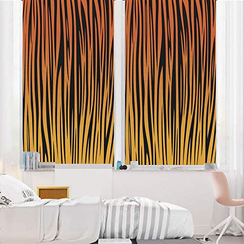 Animal Print Decor 3D No Glue Static Decorative Privacy Window Films, Vertical Curvy Lines Stripped Tiger Skin Pattern Print Artful Design Illustration,24
