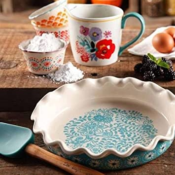 The Pioneer Woman Flea Market Decorated 9 Ruffle Top Pie Plate and 2.3-Quart Ruffle Top Bakeware 82830.01R