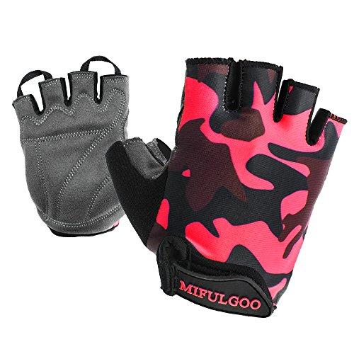 MIFULGOO Boy Girl Child Children Kid Lycra Padded Half Finger Fingerless Short Gloves Mitt Mitten for Cycling MTB Exercise Skate Skateboard Roller Skating (Camo Rose, L)