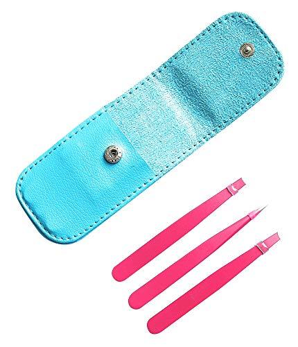 ESDELES Pink Tweezer Kit Stainless Steel Eyebrow Eyalash Tweezer Set with Leather Travel Balck Case for Facial Hair Ingrown Hair Removal Tweezer (Pink with black case)