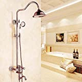General Upscale Bathroom Copper Showerhead Antique Rose Gold Retro Shower Hot And Cold Faucet Bathroom Shower Tap Set