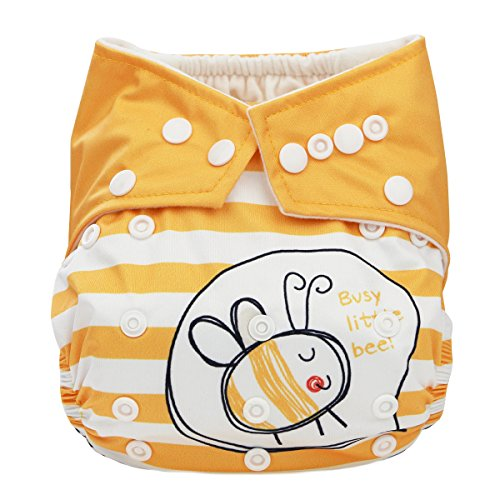 Hi Sprout Baby Reusable Absorbent Positioning Digital Printing Cloth Pocket Diapers, Cute Bee