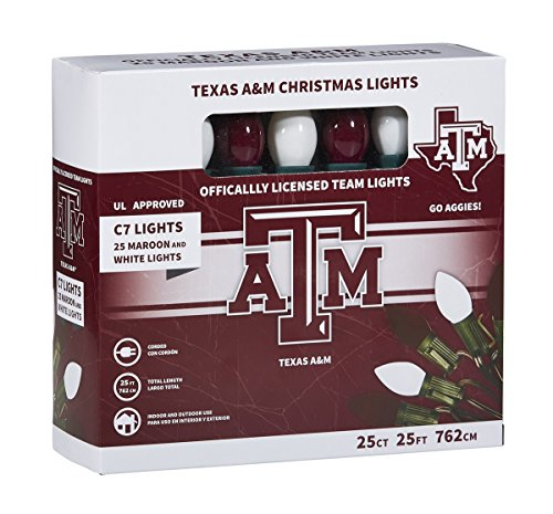 Let's Light it Up Texas A&M Maroon and White Decorative Lights, 25 Count by Let's Light it Up (Image #2)