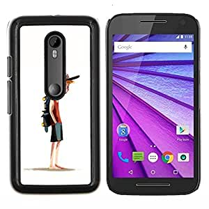 "For Motorola MOTO G3 ( 3nd Generation ) Case , Boy Monopatín Sombrero Pintura Arte Deporte"" - Diseño Patrón Teléfono Caso Cubierta Case Bumper Duro Protección Case Cover Funda"