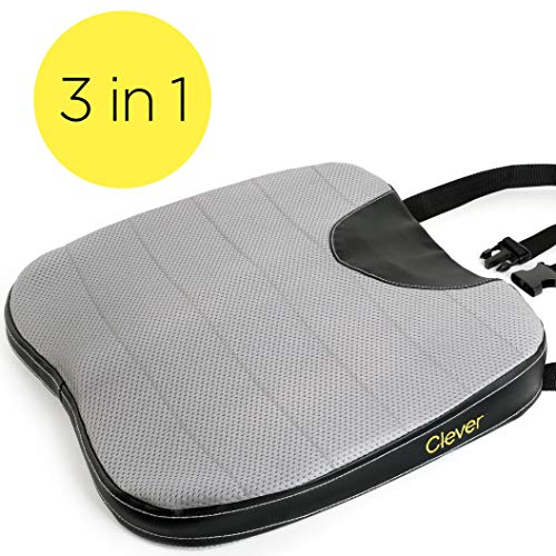 Car Seat Cushion with Strap - Thick, Firm 2.5 Inch Auto Wedge | Memory Foam | Coccyx Support for Back, Hip, Leg Pain | for Drivers, Office Chairs, Wheelchairs | Breathable, Washable Cover