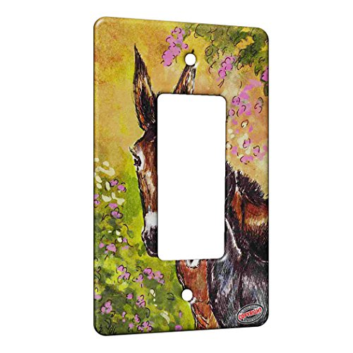 1 Gang Rocker Wall Plate - Donkey Jennet and Foal with Pink Clematis Horse Art by Denise (Donkey Rocker)