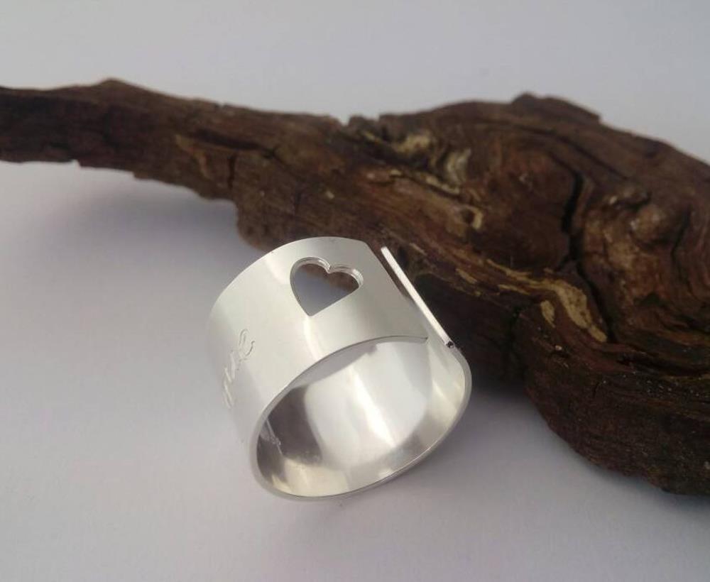HerzRing oder SternRing 925-Silber handgearbeitet mit persönlicher Gravur, Heart and Soul ring, Geschenk für Sie Geschenk für Sie