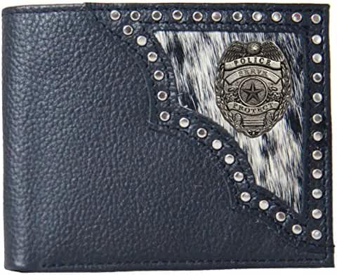 Custom Serve and Protect Police Justin Black Hair on Hide Bi-Fold Wallet