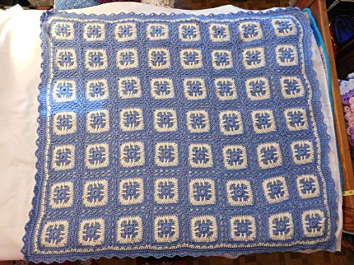 Blue Baby AfghanHand Crocheted Afghan, Throw, Blanket, Blue and White