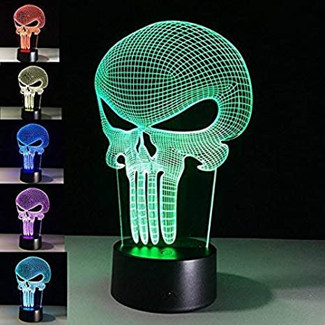 LED Farbwechsel Schädel Totenköpfen Nachtlicht Tischlampe Leuchte w//