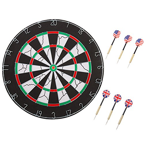 Trademark Games Double-Sided Flocked Dart Board - Regulation Size Tournament Set with 6-17 Gram Steel Tip Darts and Numbered Spider for Indoor Play